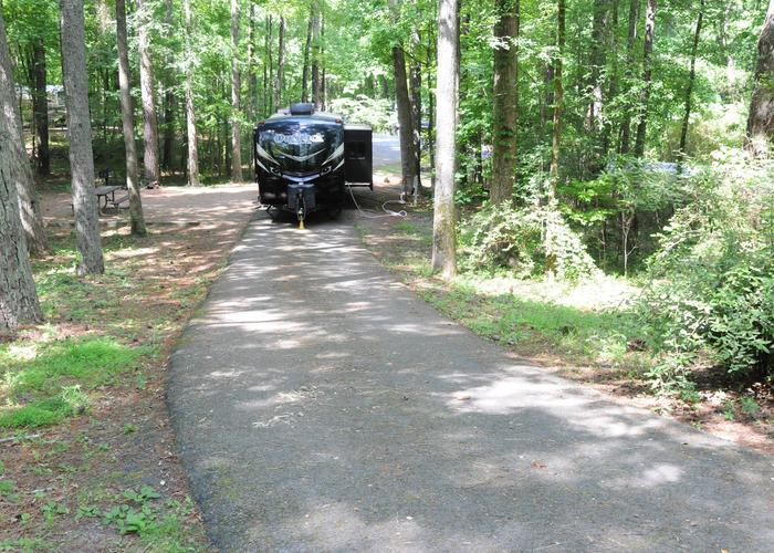 Pull-thru exit, driveway slope, awning-side clearance, utilities-side clearance.Victoria Campground, campsite 65.