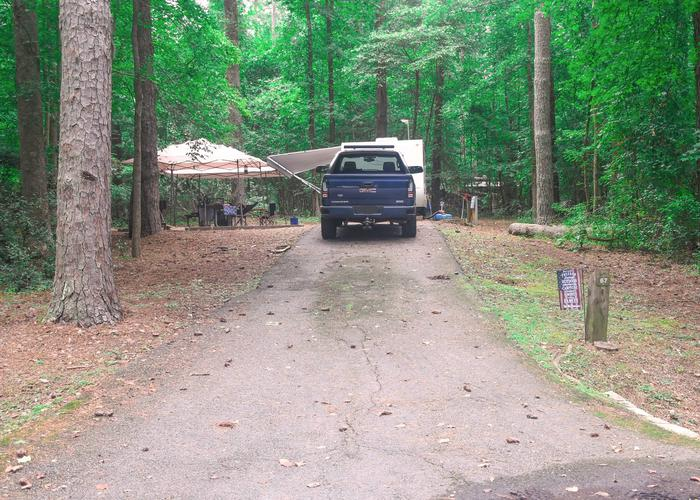 Driveway slope, awning-side clearance, utilities-side clearance.Victoria Campground, campsite