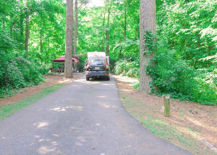 Driveway slope, awning-side clearance, utilities-side clearance.Victoria Campground, campsite 68.