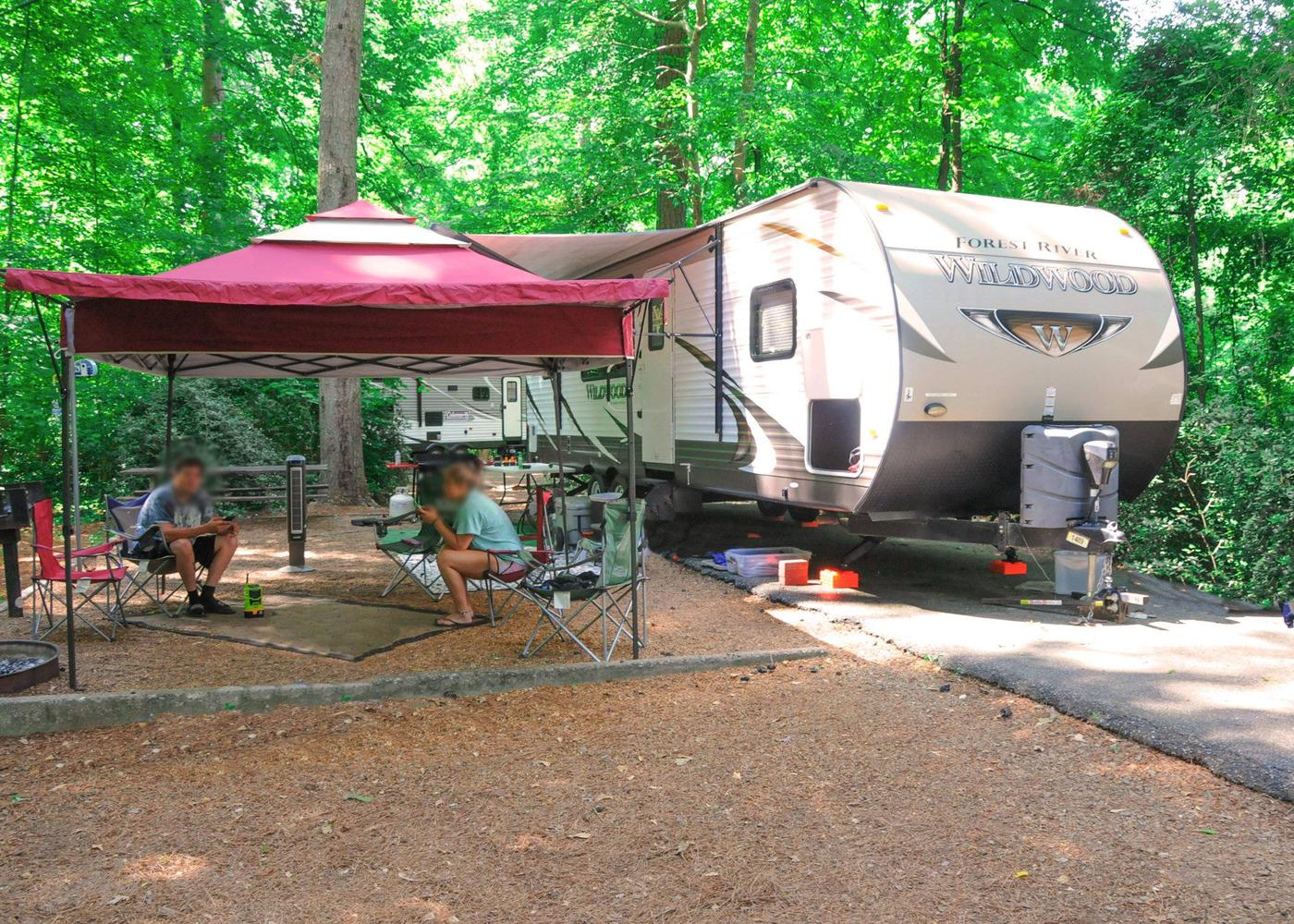 Awning-side clearance, campsite view.Victoria Campground, campsite 68.
