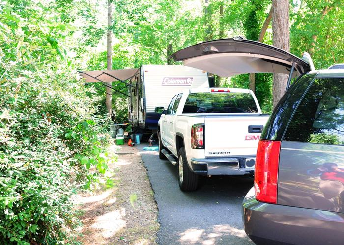 Driveway slope, awning-side clearance.Victoria Campground, campsite 71.