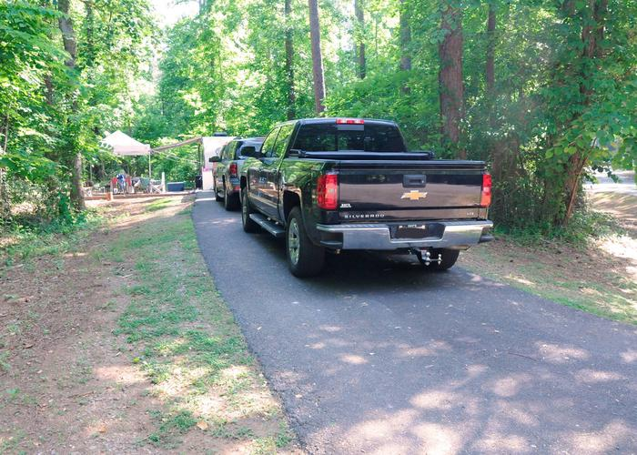 Driveway slope, awning-side clearance.Victoria Campground, campsite 72.