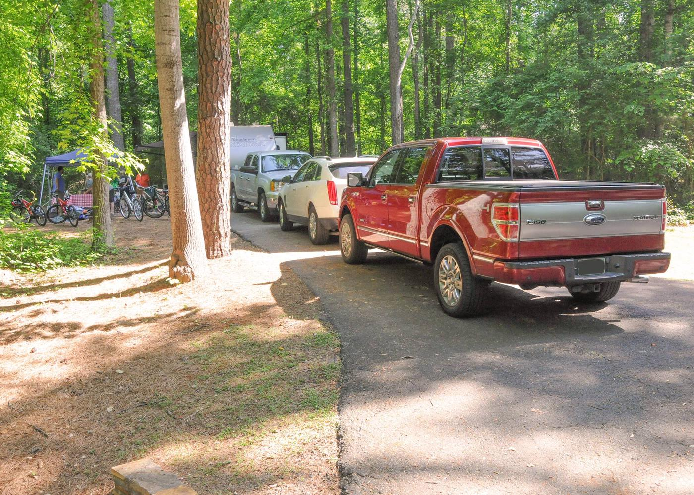 Driveway slope, awning-side clearance.Victoria Campground, campsite 73.