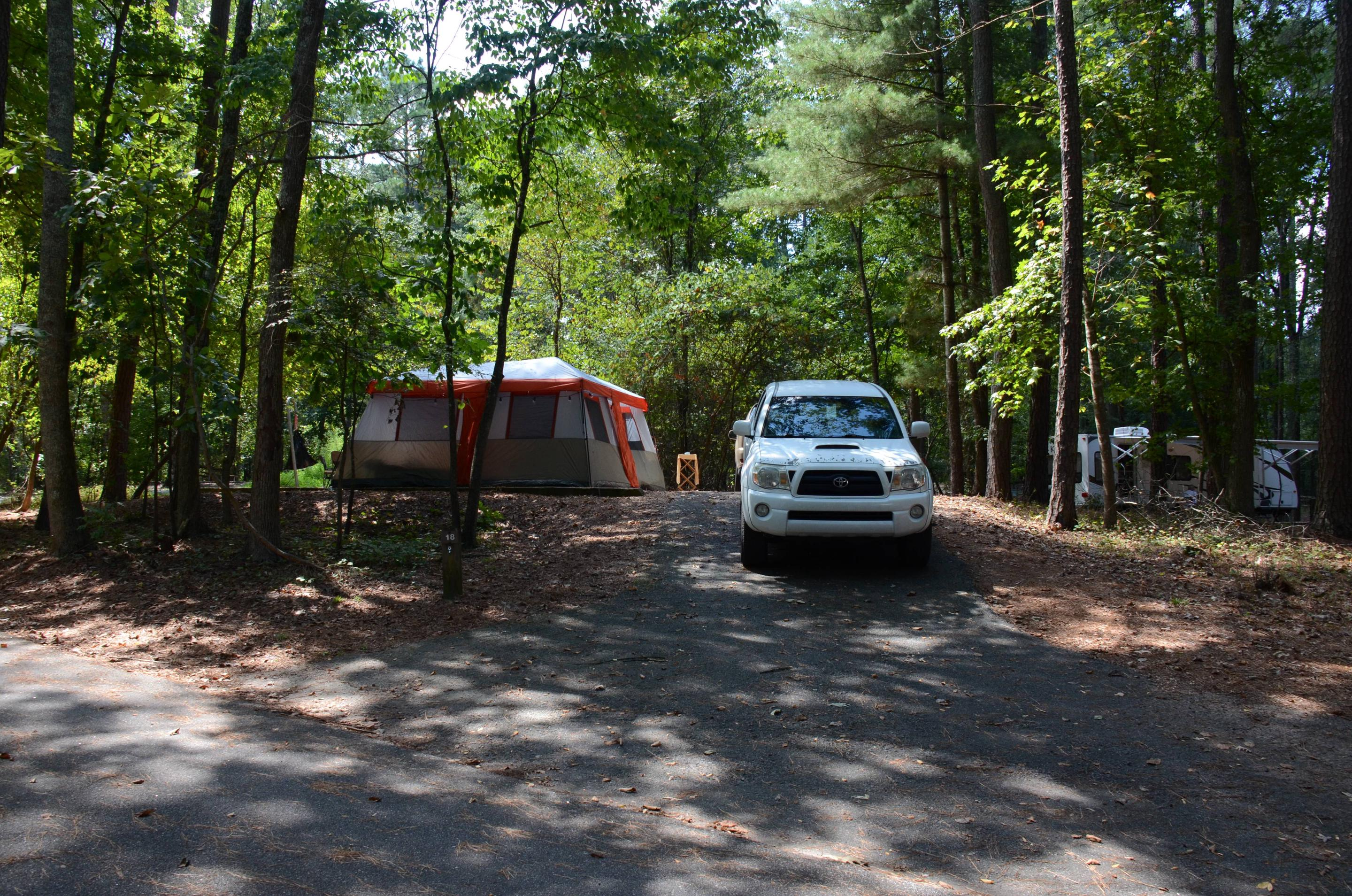 Driveway slope, awning-side clearance.McKinney Campground, campsite 18.