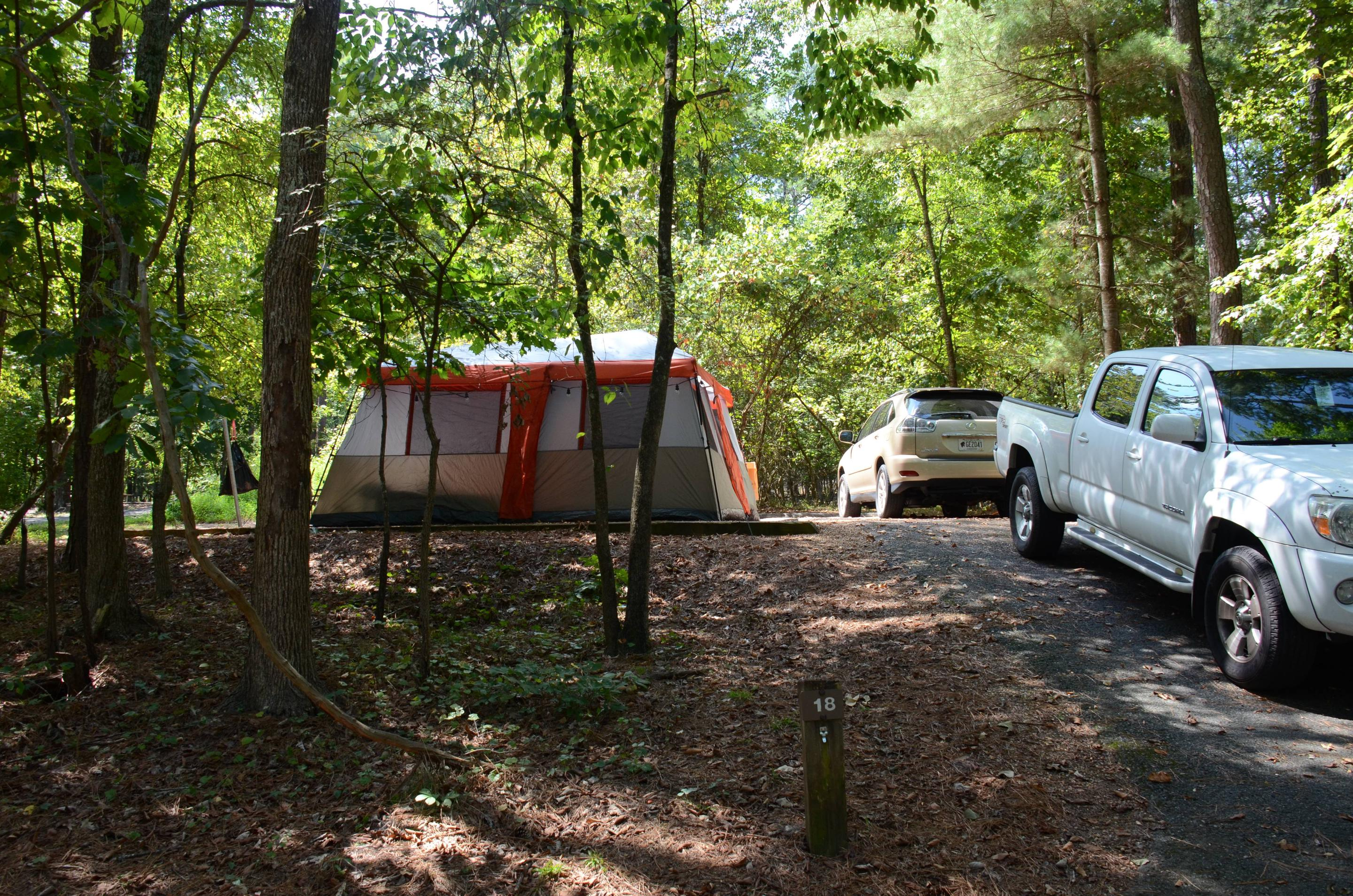 Driveway slope, awning-side clearance-2.McKinney Campground, campsite 18.