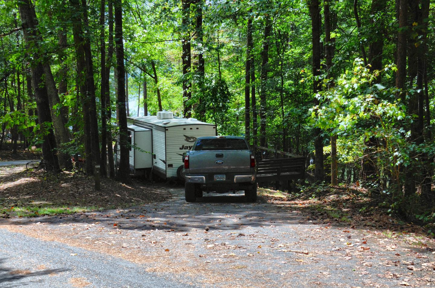 Pull-thru entrance, utilities clearance.McKinney Campground, campsite 139.