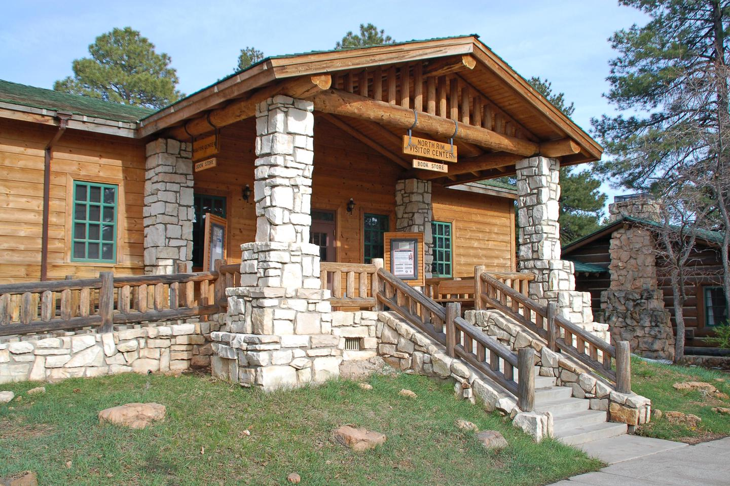 Grand Canyon National Park: North Rim Visitor Center 0109Located adjacent to the parking lot on Bright Angel Peninsula, by the Grand Canyon Lodge. The North Rim Visitor Center has park and regional information, maps, brochures, exhibits, and a bookstore. Open mid-May to mid-October, from 8:00 a.m. to 6:00 p.m.