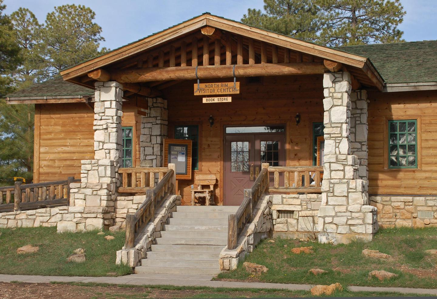 Grand Canyon National Park: North Rim Visitor Center 0116Located adjacent to the parking lot on Bright Angel Peninsula, by the Grand Canyon Lodge. The North Rim Visitor Center has park and regional information, maps, brochures, exhibits, and a bookstore. Open mid-May to mid-October, from 8:00 a.m. to 6:00 p.m.