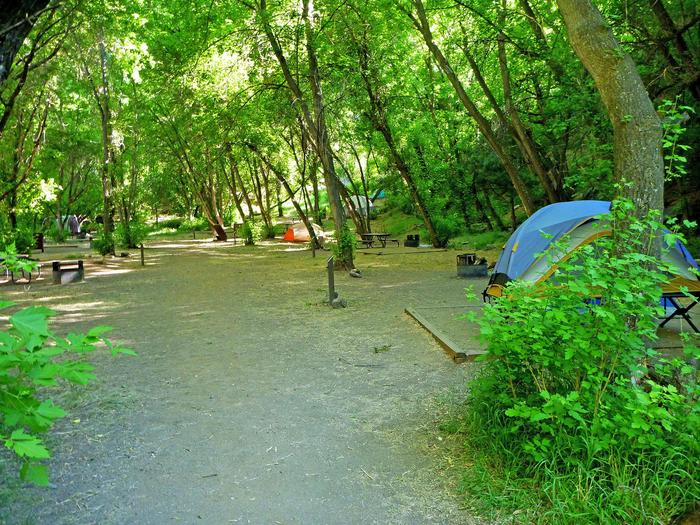 Walk-In Sites at East Portal Campground10 of the 15 campsites are walk-in; they are separated from the parking area by short sets of stairs.