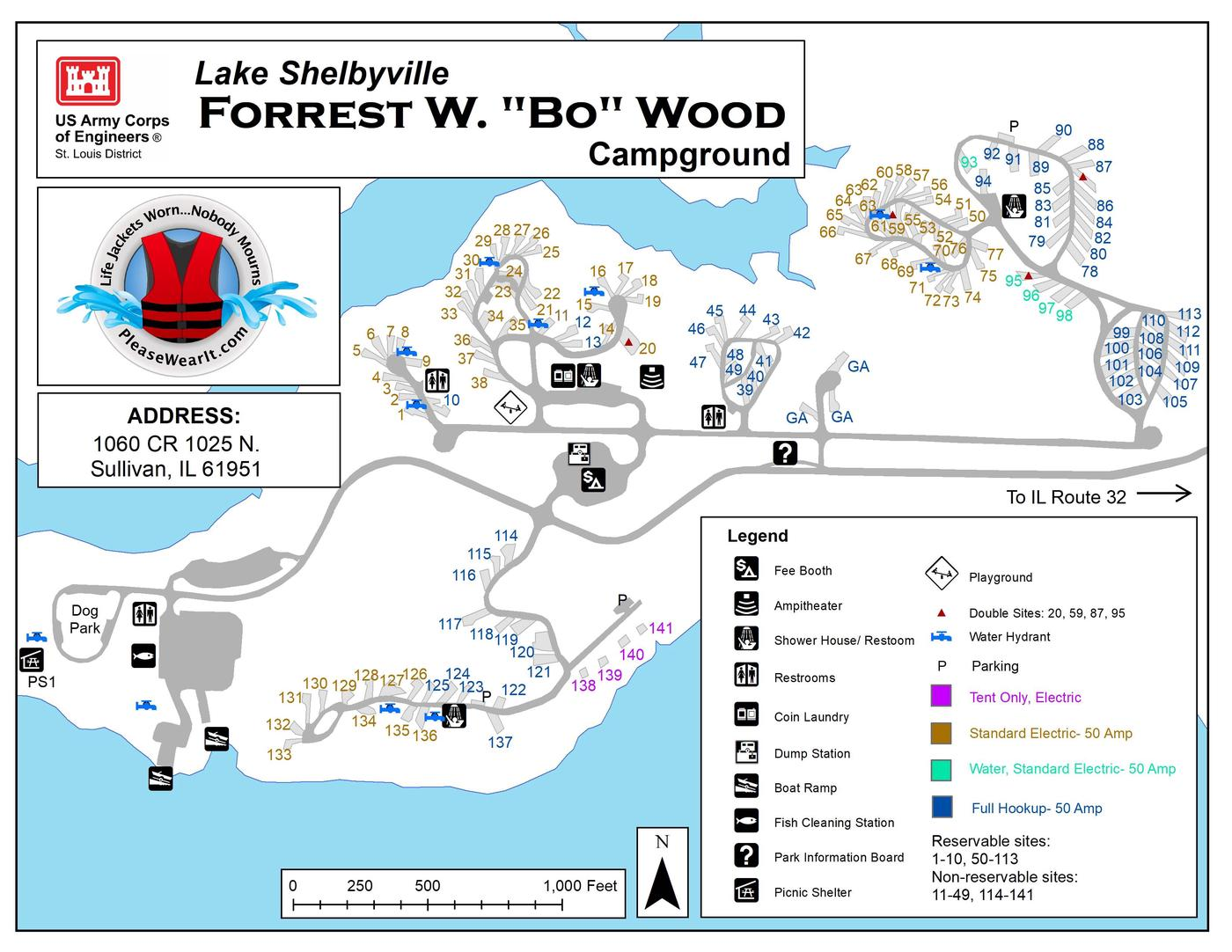 Forrest W. Bo Wood Campground Map