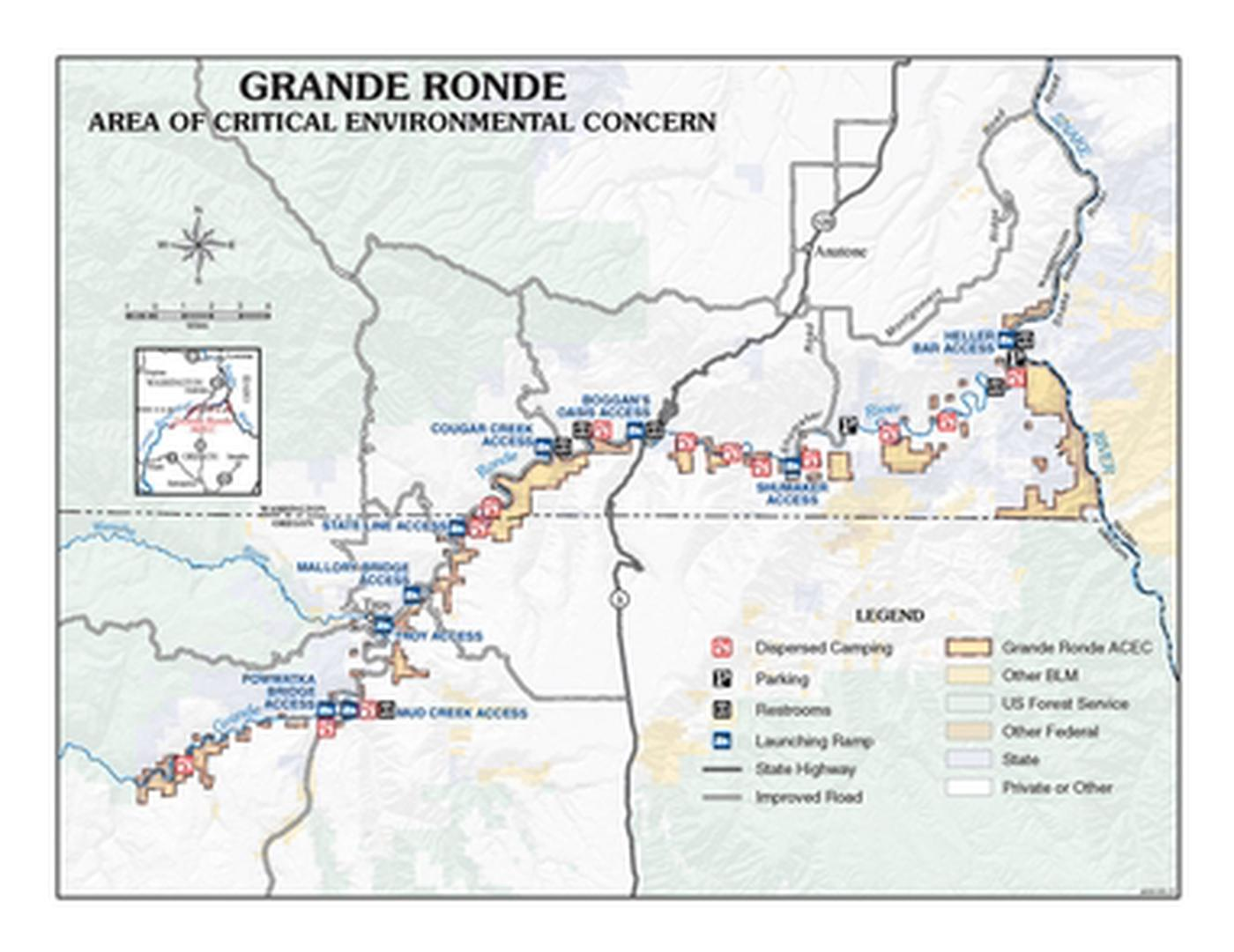 Grande Ronde Wild and Scenic RiverMap of the Grande Ronde Area of Critical Environmental Concern.