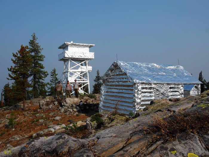 Lookout and cabin wrapped with fire resistant materialLookout and cabin wrapped with fire resistant material for the Caribou Fire in 2018