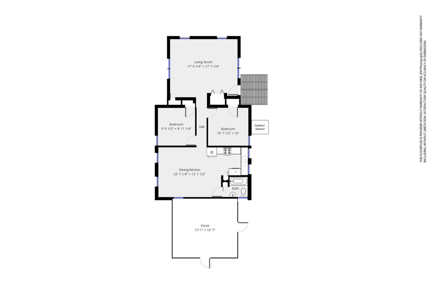 Floor plan of the Le Count Beach HouseThe Le Count Beach House offers visitors a comfortable living space