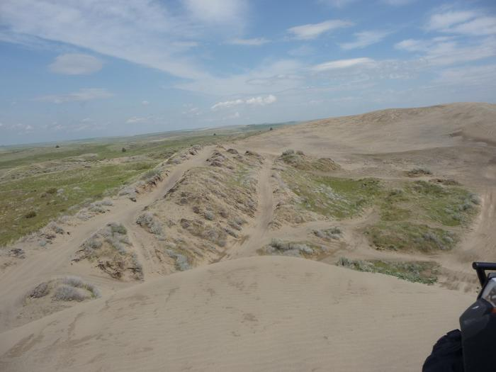 View from atop a large dunes at Juniper Dunes OHV Area