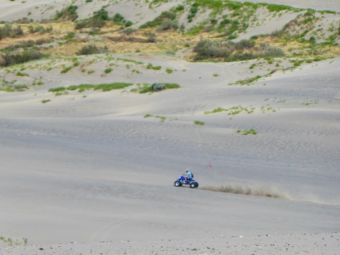 Four-wheeler accelerating across dune at Juniper Dunes OHV Area