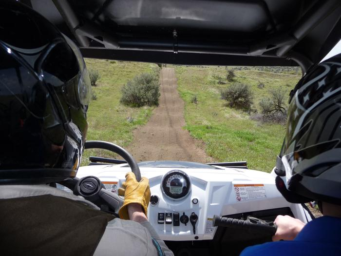 View of trail at Juniper Dunes OHV from inside side-by-side.