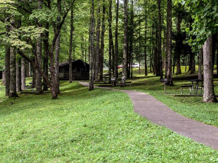 Accessible restroomOverflow picnic tables and paved pathway to restroom