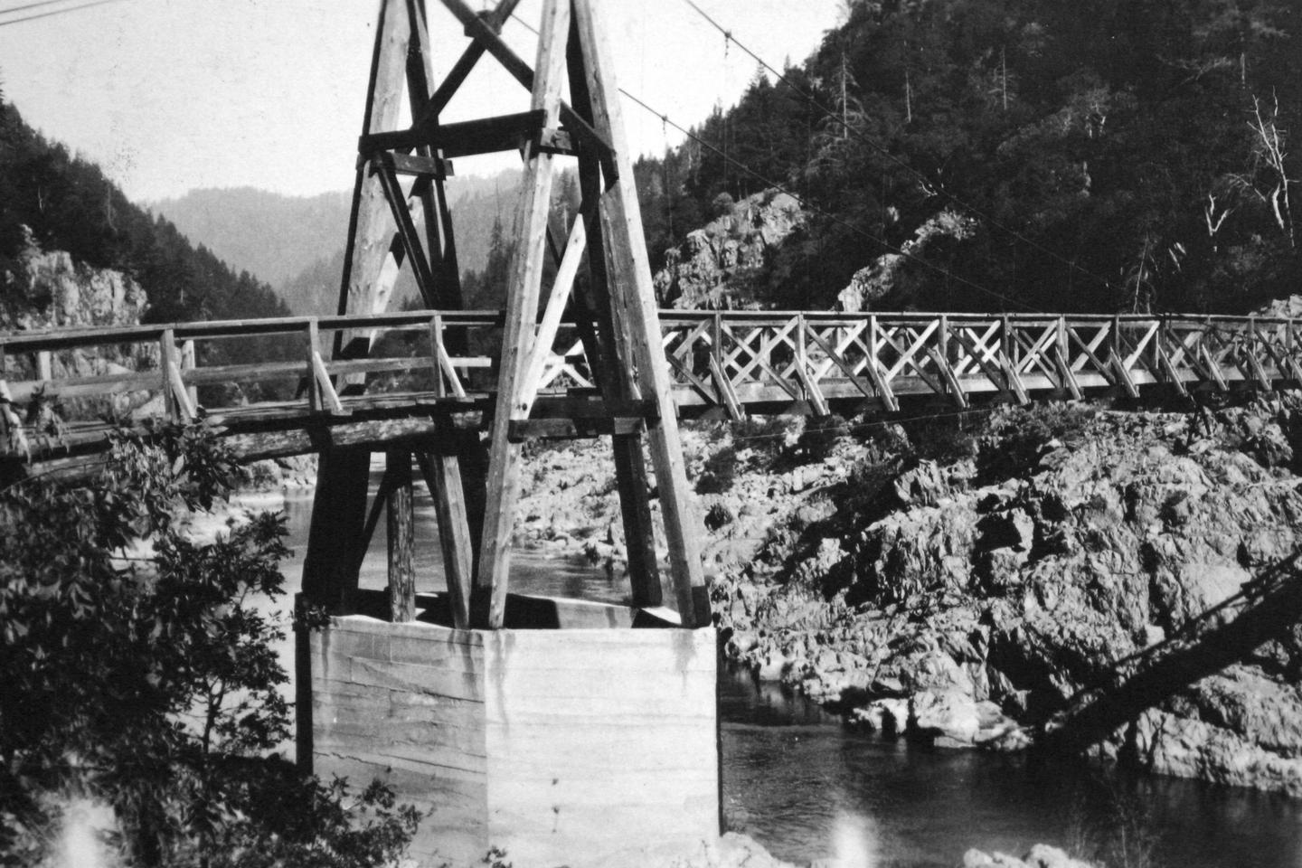 Sanderson's BridgeEarly day view of Sanderson's Bridge, a suspension crossing bridge.