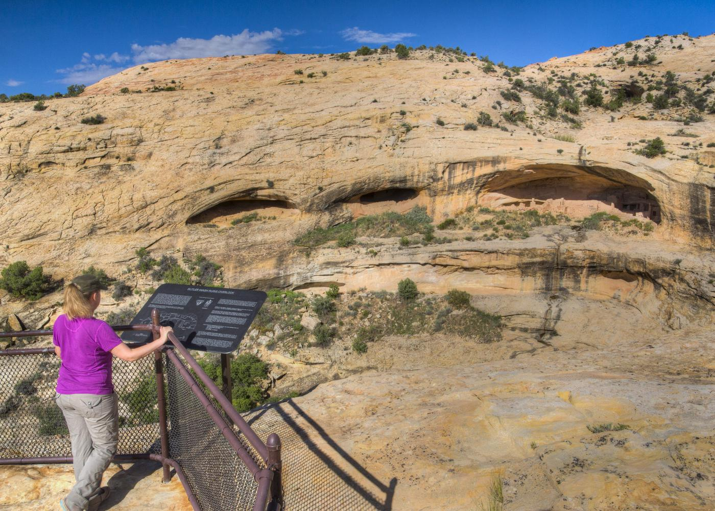 Cliff dwellings of the AnasaziPhoto of a woman at an interpretive overlook viewing cliff dwellings of the Anasazi.