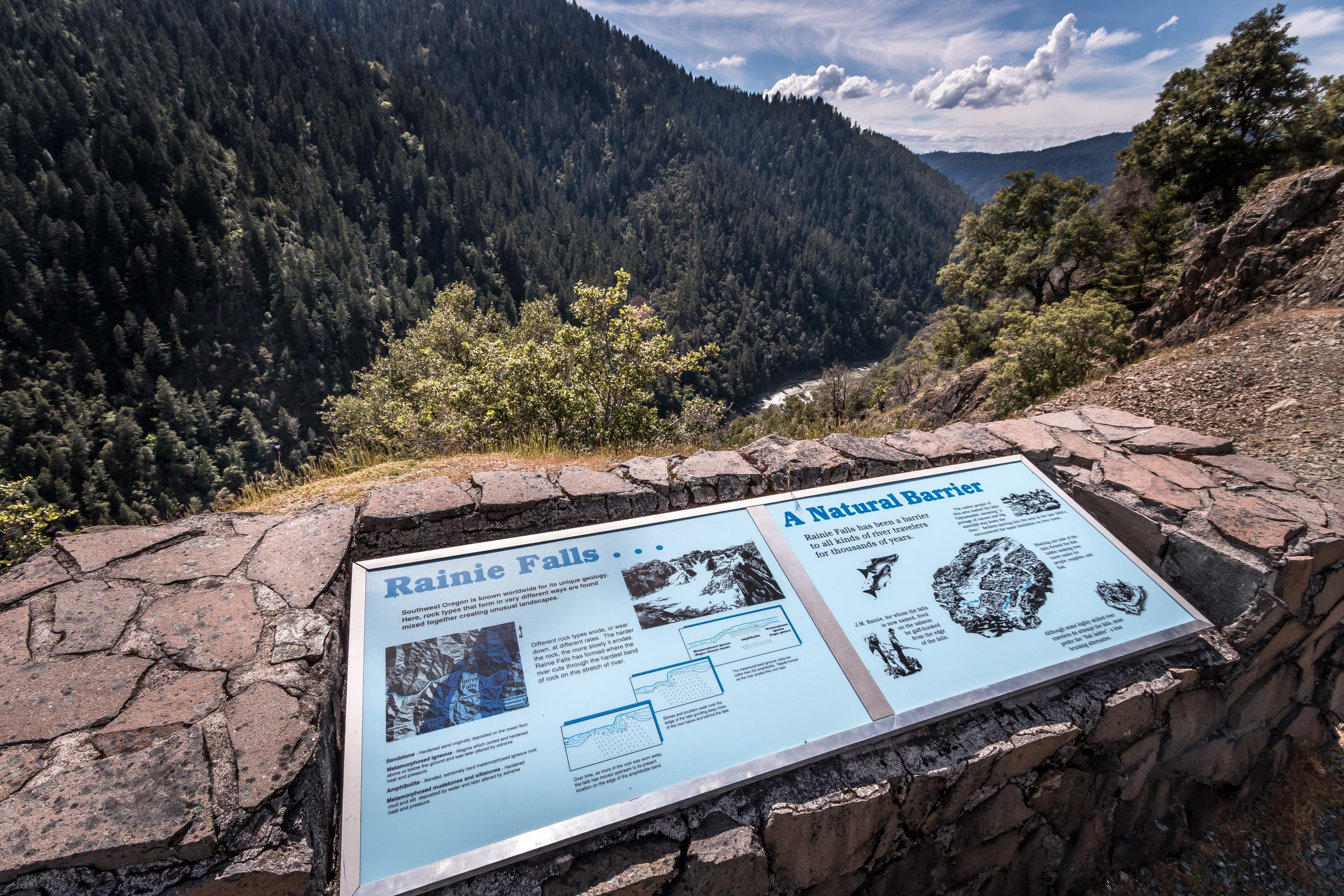 Interpretive panels at Rainie Falls Overlook