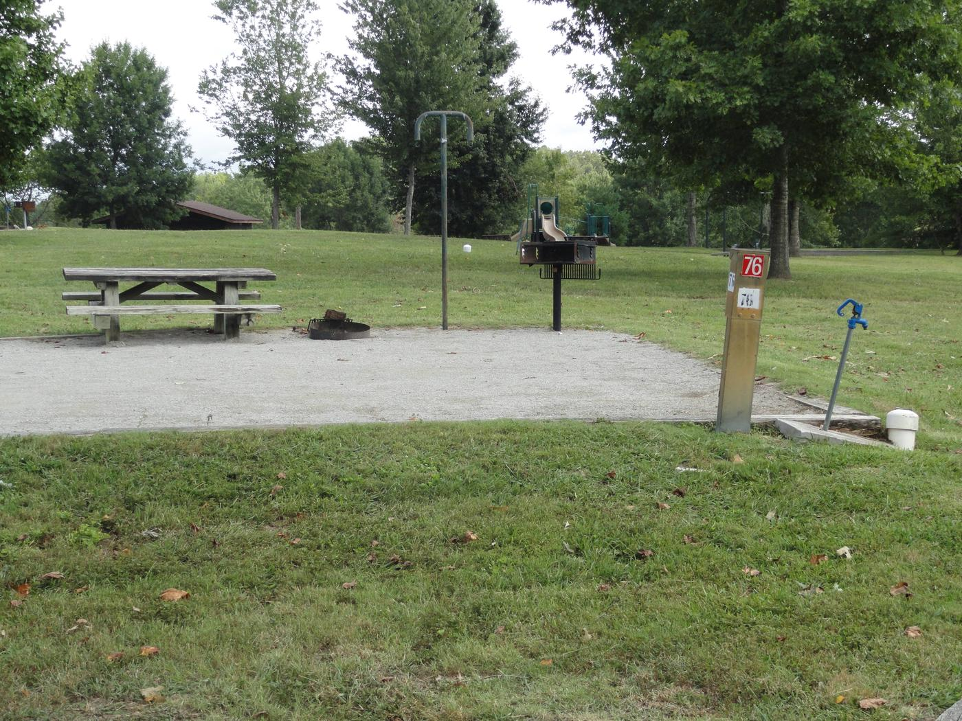 WILLOW GROVE CAMPGROUND SITE #76 PLAYGROUND VIEWWILLOW GROVE CAMPGROUND SITE #76 WHITE CAP IS WATER VALVE, NOT SEWER