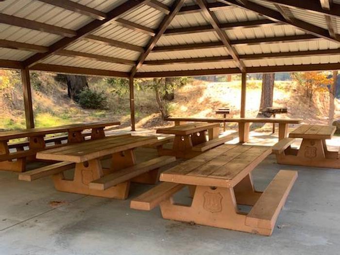 Picnic tables under shelter