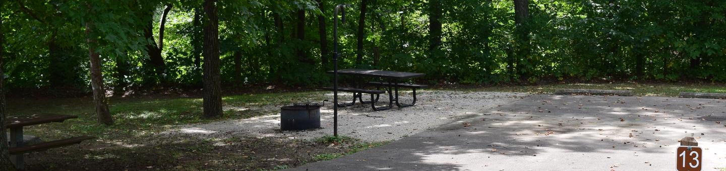 Campsite 13 hsowing parking spur, picnic table, lantern post and fire ringCampsite 13