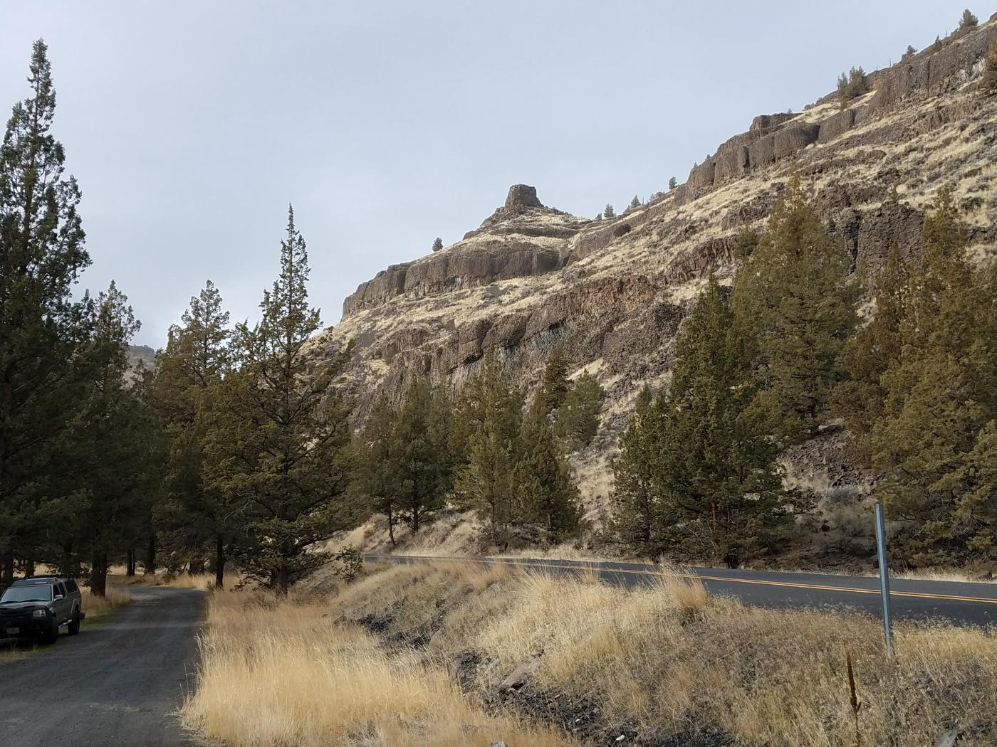 View of Chimney Rock from Post Pile Campground