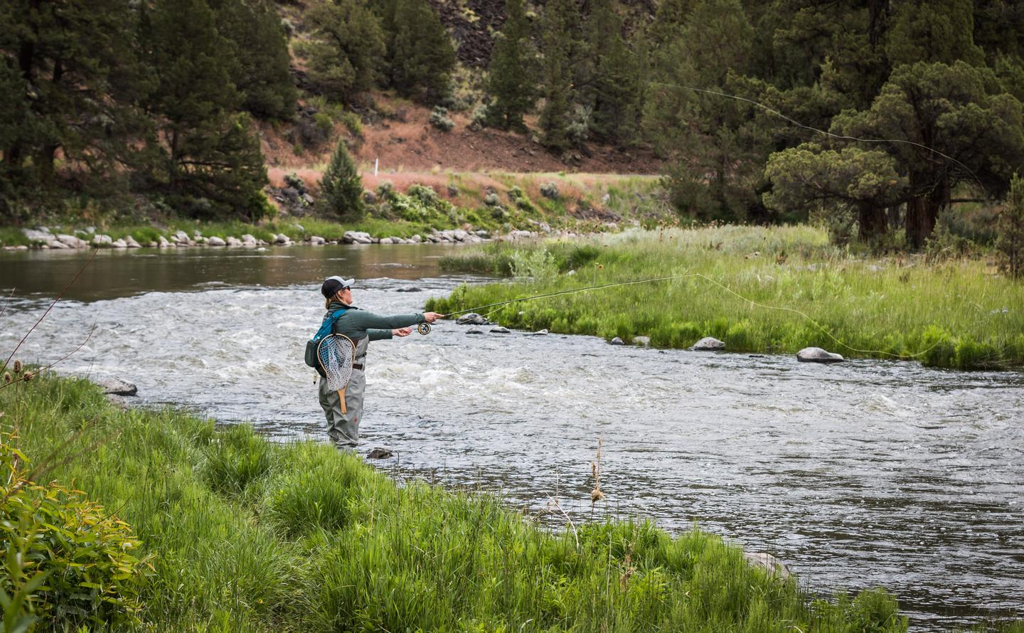 Fly-fishing near the Post Pile Campground, Crooked Wild and Scenic River