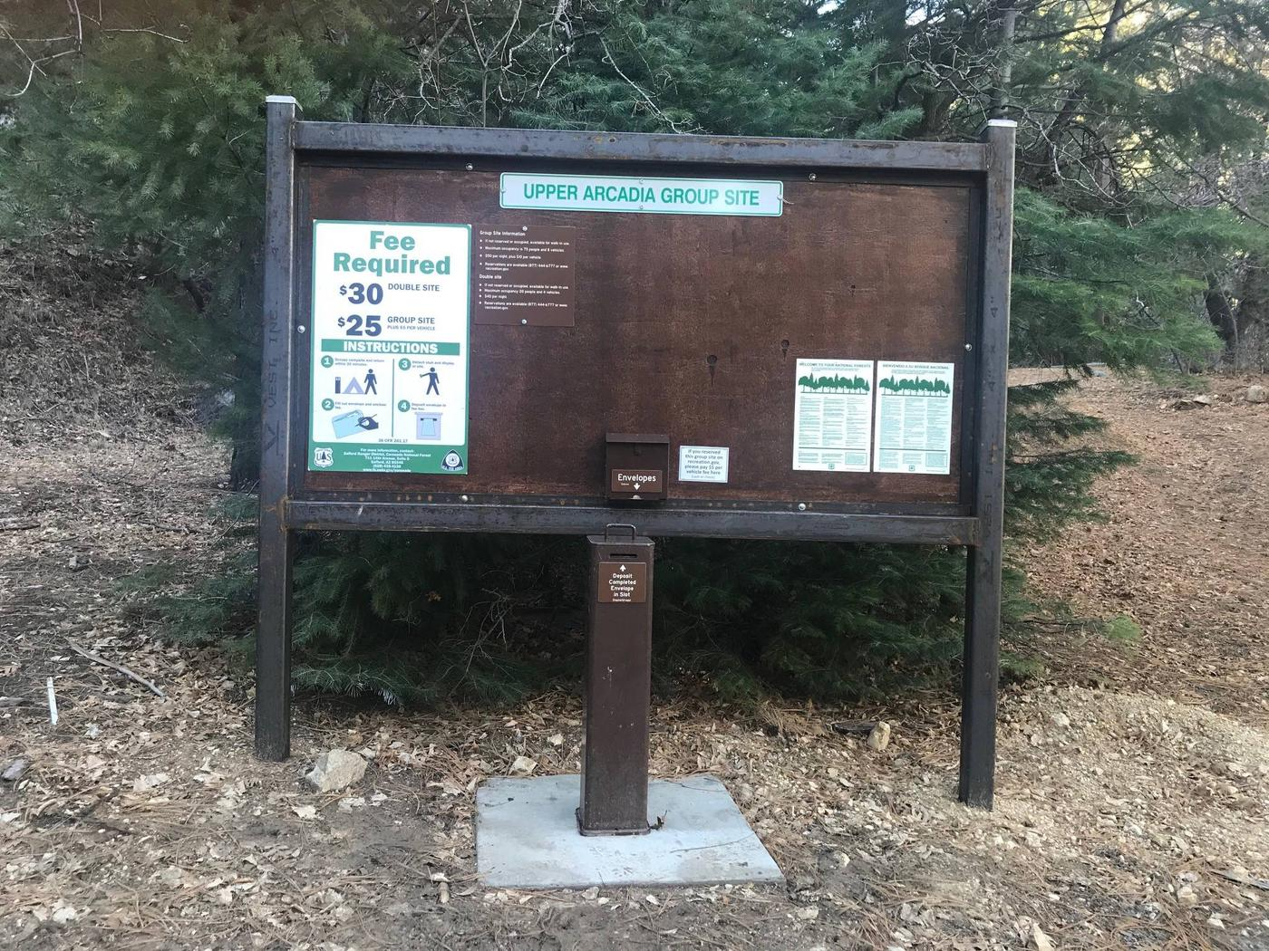 Upper Arcadia Fee Board