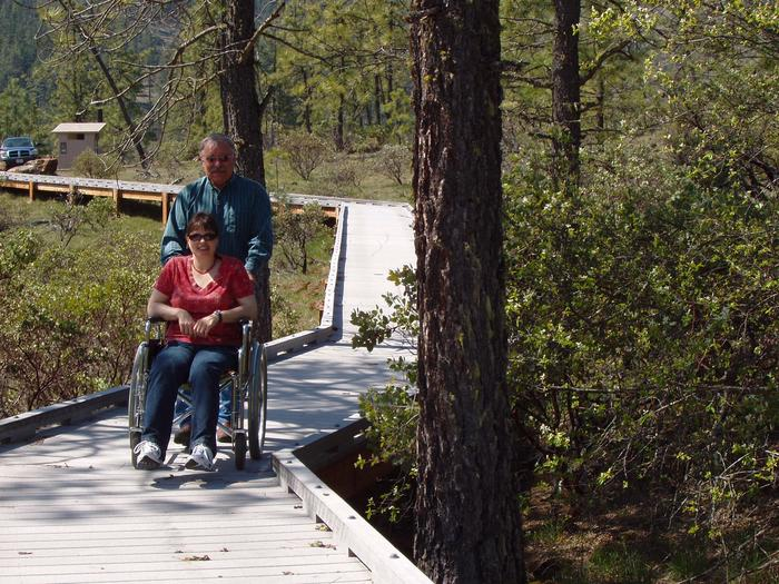 Accessible boardwalk at the Eight Dollar Mountain Botanical Wayside