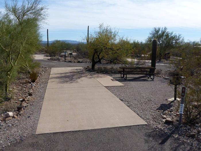Pull-thru campsite with picnic table and grill, cactus and desert vegetation surround site.  Site 056