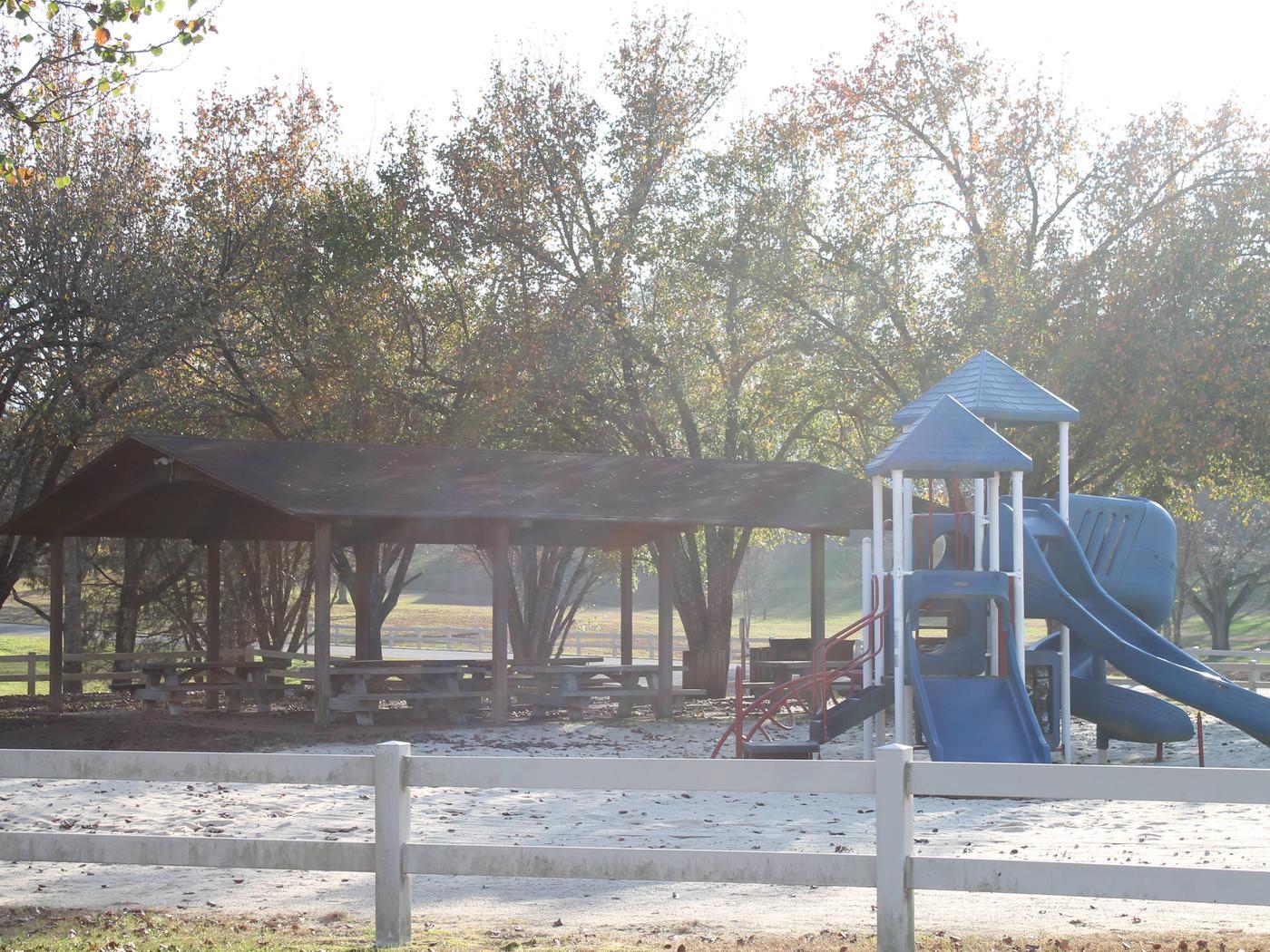 Shelter and playground Shelter and playgrounds at Tailwater Recreation Area