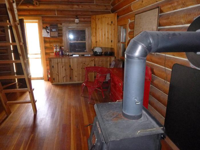 wood stoveThe main room and woodstove.