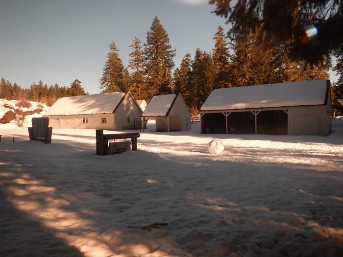 Historic facilitieswinter time at the historic Fish Lake Remount Depot