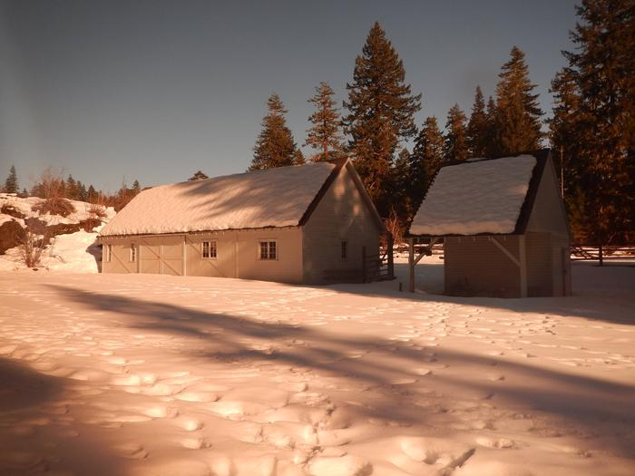 Historic buildings at the depotEvening light at the depot in winter