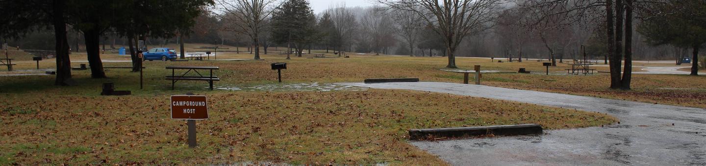 Tyler Bend Main Loop Site#1-6 Site#1, 40' back-in, tent pad 15' x 15'.