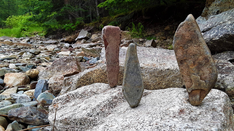 Seasonally dry Beauty Creek with standing stones.