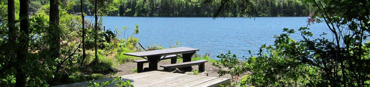 tent pad and picnic table in foreground, pond in backgroundcampsite 2