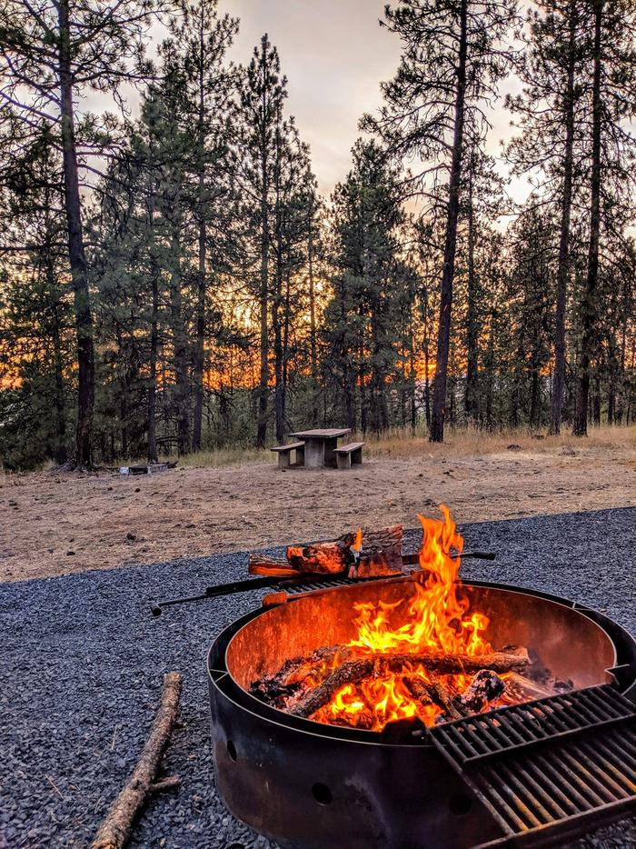 Campfire at Bell Bay Campground