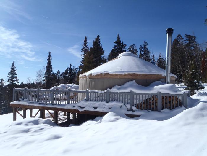 Winter view of yurtGrizzly Ridge Yurt