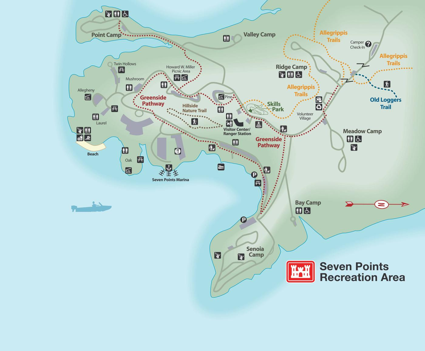Seven Points Recreation area mapCampground map