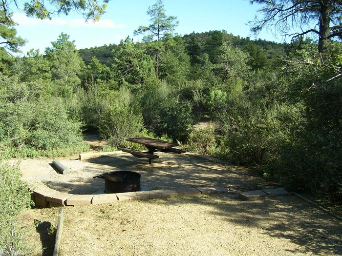 Yavapai Campground A20 tucked in the shrub with small gravel tent padYavapai Campground A20