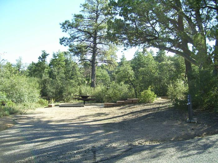 Long view of Yavapai Campground A20 gravel parkingYavapai Campground A20
