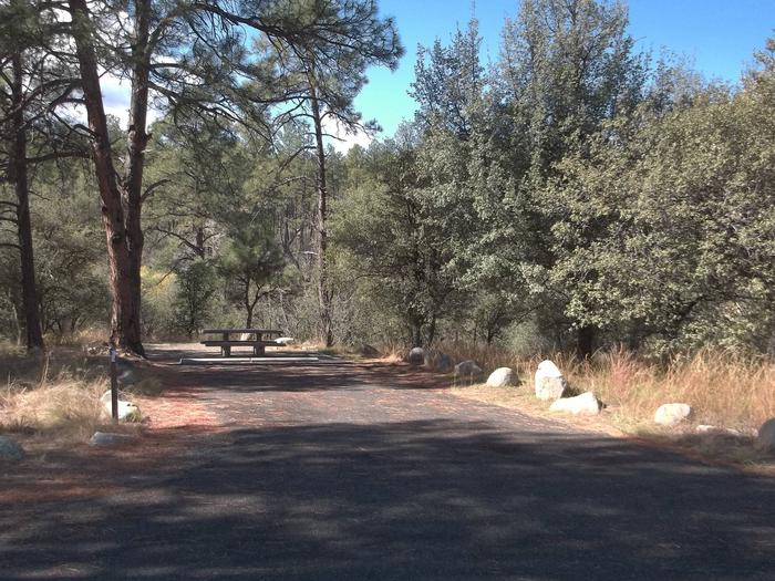 White Spar Site 2 paved driveway lined with boulders with one tall ponderosa over the picnic areaWhite Spar Site 2