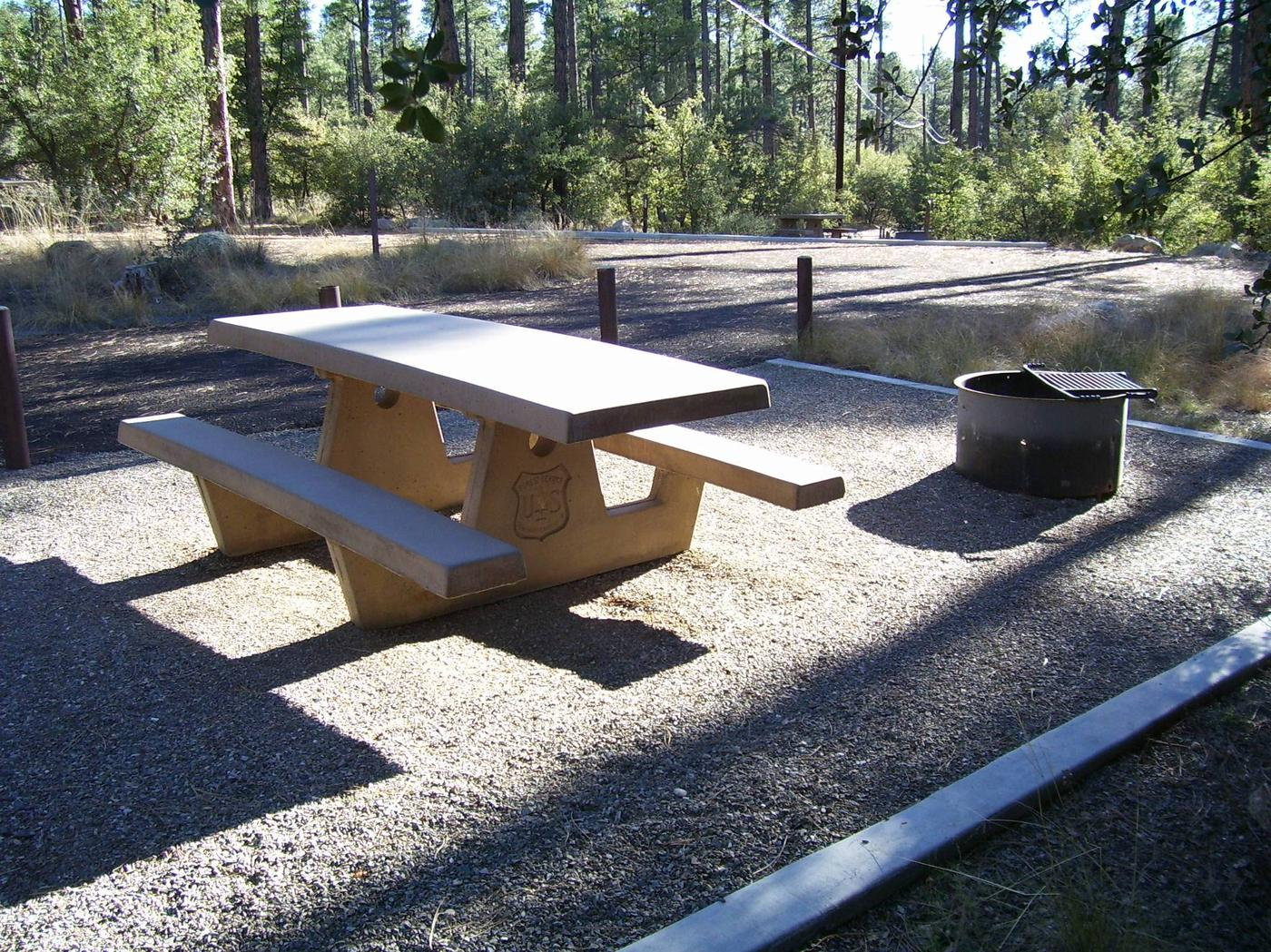 Site 27 wIde back in parking area and concrete edged gravel picnic area with table and fire pit.White Spar Site 27