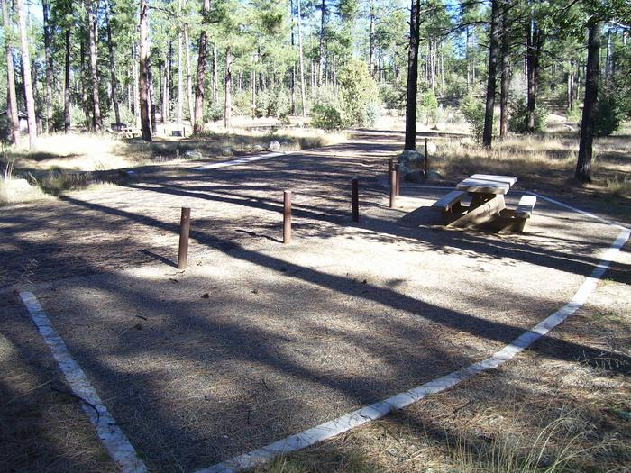 White Spar Site 18 accessible gravel 13 by 20 foot tent pad, table and fire ring.White Spar Accessible Site 18