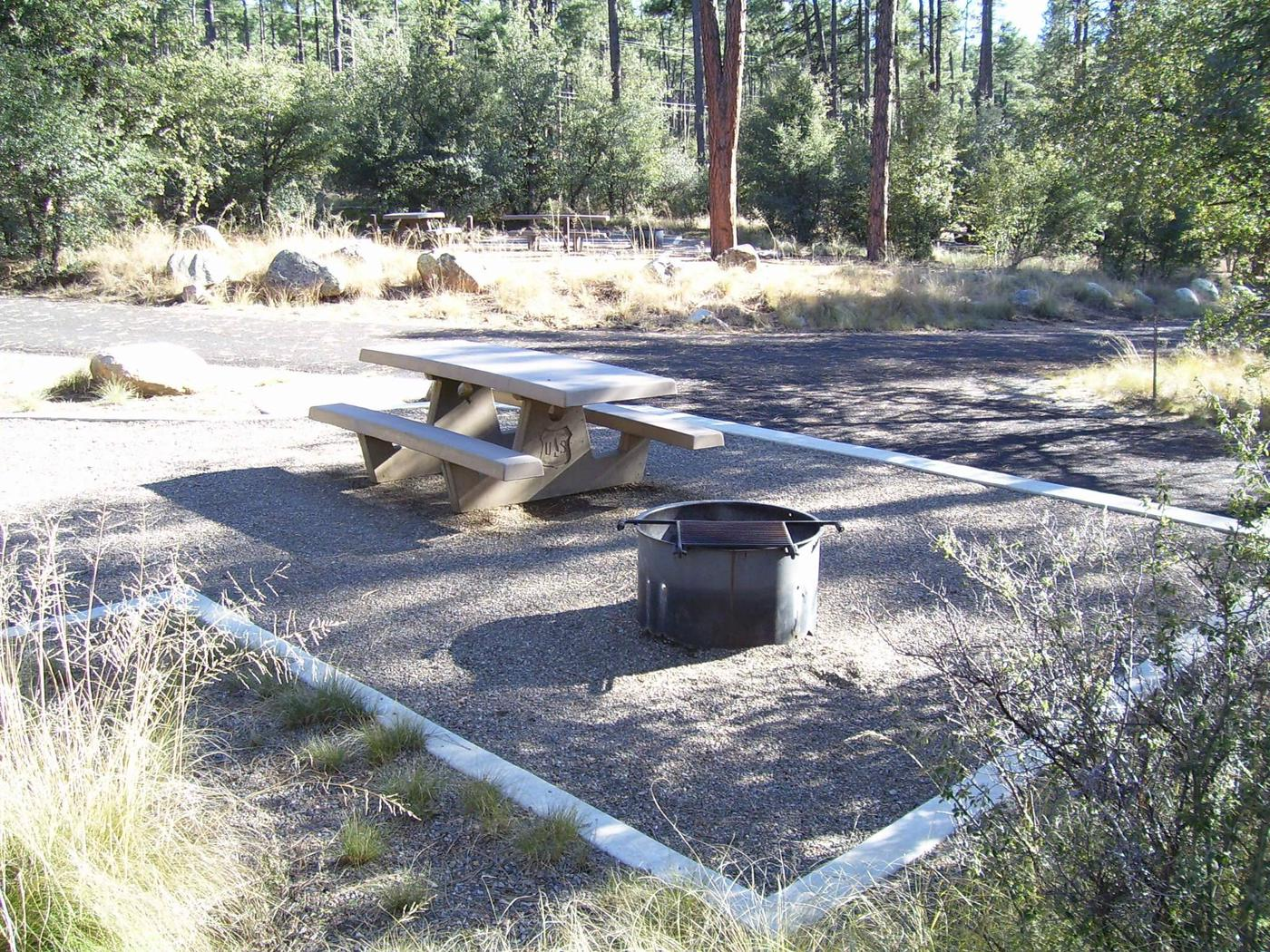Site 22 cement table with fire pit.White Spar Site 22 picnic area