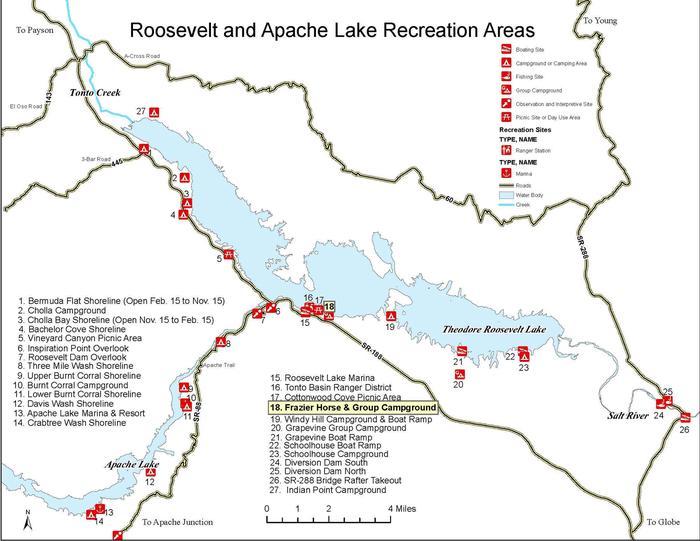 Roosevelt and Apache Lake MapTonto Basin, AZ
