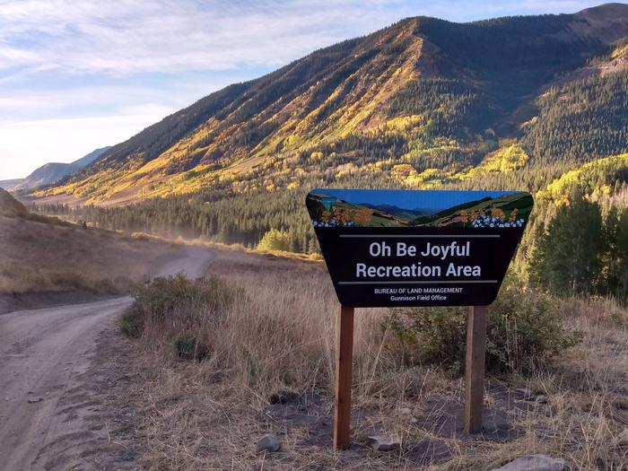 Oh Be Joyful Recreation Area SignView of the Slate River Valley looking South toward Crested Butte